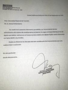 Texto de pedido de disculpas de parte del Gerente de Banco Galicia