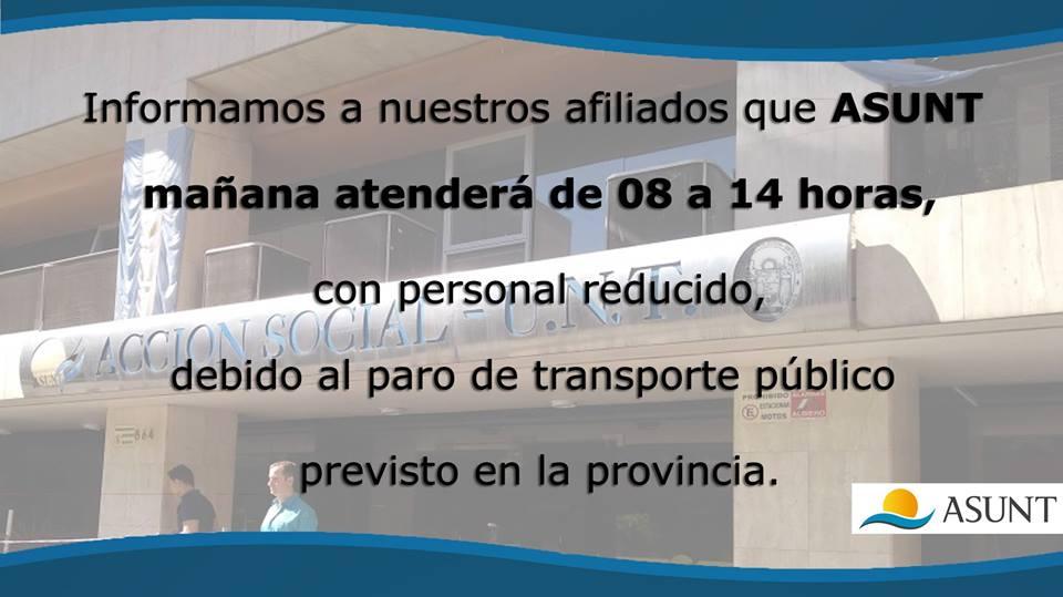 ASUNT ATENCIÓN REDUCIDA POR PARO DE TRANSPORTE